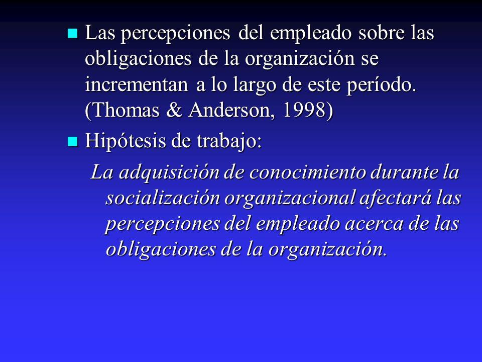 Las percepciones del empleado sobre las obligaciones de la organización se incrementan a lo largo de este período. (Thomas & Anderson, 1998) Las perce