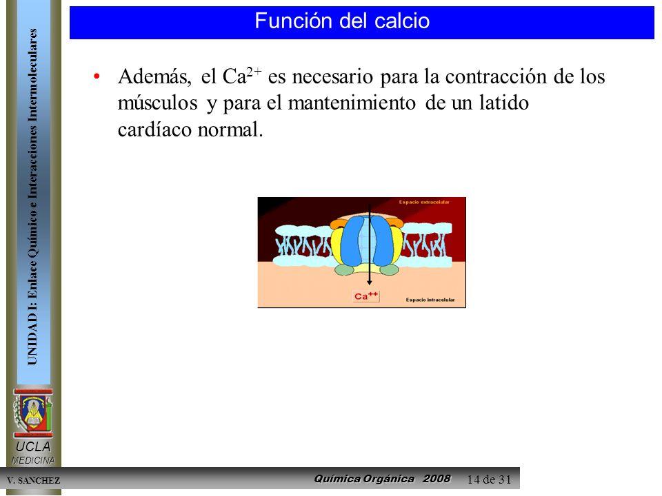 Química Orgánica 2008 UCLAMEDICINA UNIDAD I: Enlace Químico e Interacciones Intermoleculares V. SANCHEZ 14 de 31 Función del calcio Además, el Ca 2+ e