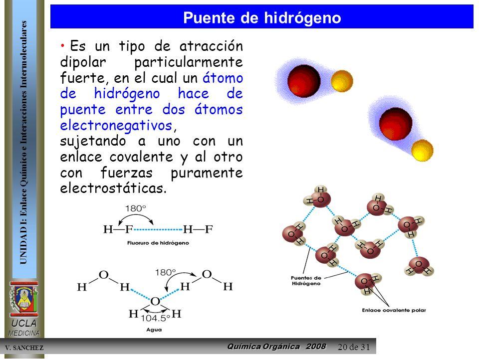 Química Orgánica 2008 UCLAMEDICINA UNIDAD I: Enlace Químico e Interacciones Intermoleculares V. SANCHEZ 20 de 31 Es un tipo de atracción dipolar parti