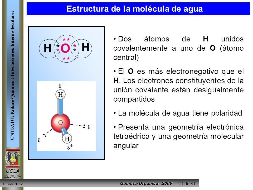Química Orgánica 2008 UCLAMEDICINA UNIDAD I: Enlace Químico e Interacciones Intermoleculares V. SANCHEZ 21 de 31 Estructura de la molécula de agua Dos
