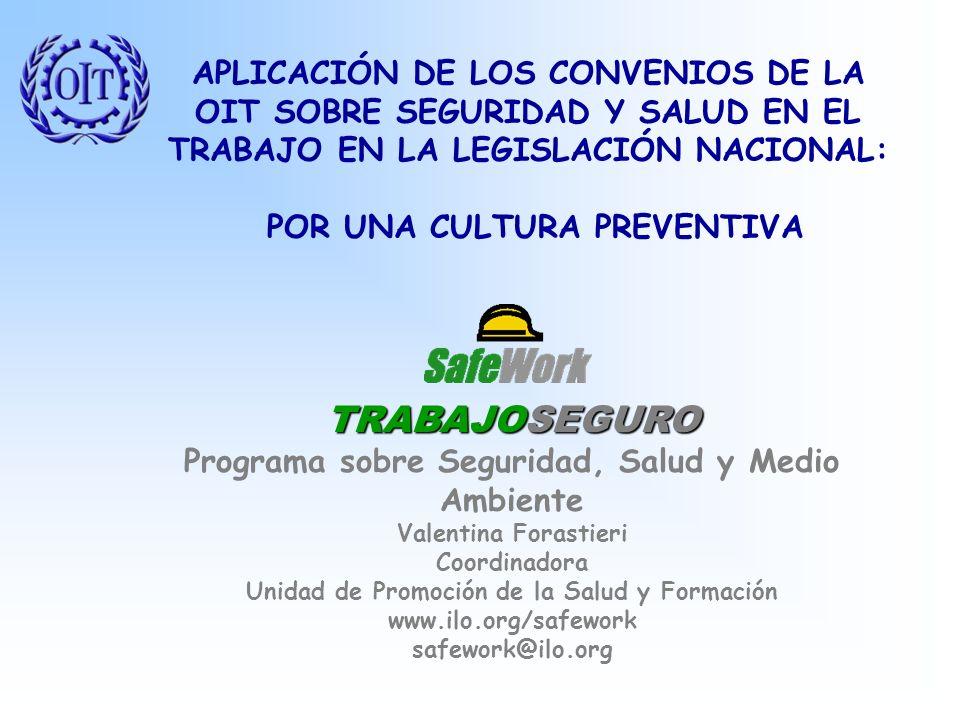 TRABAJOSEGURO Programa sobre Seguridad, Salud y Medio Ambiente Valentina Forastieri Coordinadora Unidad de Promoción de la Salud y Formación www.ilo.org/safework safework@ilo.org APLICACIÓN DE LOS CONVENIOS DE LA OIT SOBRE SEGURIDAD Y SALUD EN EL TRABAJO EN LA LEGISLACIÓN NACIONAL: POR UNA CULTURA PREVENTIVA