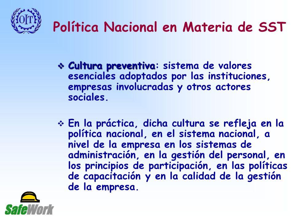 Política Nacional en Materia de SST Cultura preventiva Cultura preventiva: sistema de valores esenciales adoptados por las instituciones, empresas involucradas y otros actores sociales.