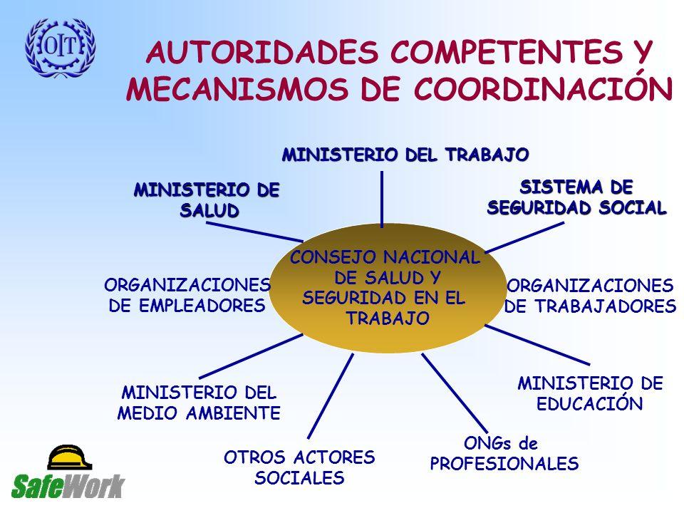 AUTORIDADES COMPETENTES Y MECANISMOS DE COORDINACIÓN CONSEJO NACIONAL DE SALUD Y SEGURIDAD EN EL TRABAJO MINISTERIO DEL TRABAJO MINISTERIO DE SALUD ONGs de PROFESIONALES ORGANIZACIONES DE EMPLEADORES MINISTERIO DEL MEDIO AMBIENTE OTROS ACTORES SOCIALES ORGANIZACIONES DE TRABAJADORES MINISTERIO DE EDUCACIÓN SISTEMA DE SEGURIDAD SOCIAL