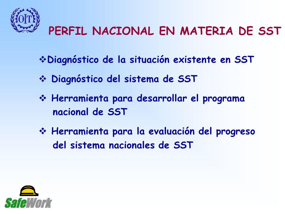 PERFIL NACIONAL EN MATERIA DE SST Diagnóstico de la situación existente en SST Diagnóstico del sistema de SST Herramienta para desarrollar el programa nacional de SST Herramienta para la evaluación del progreso del sistema nacionales de SST