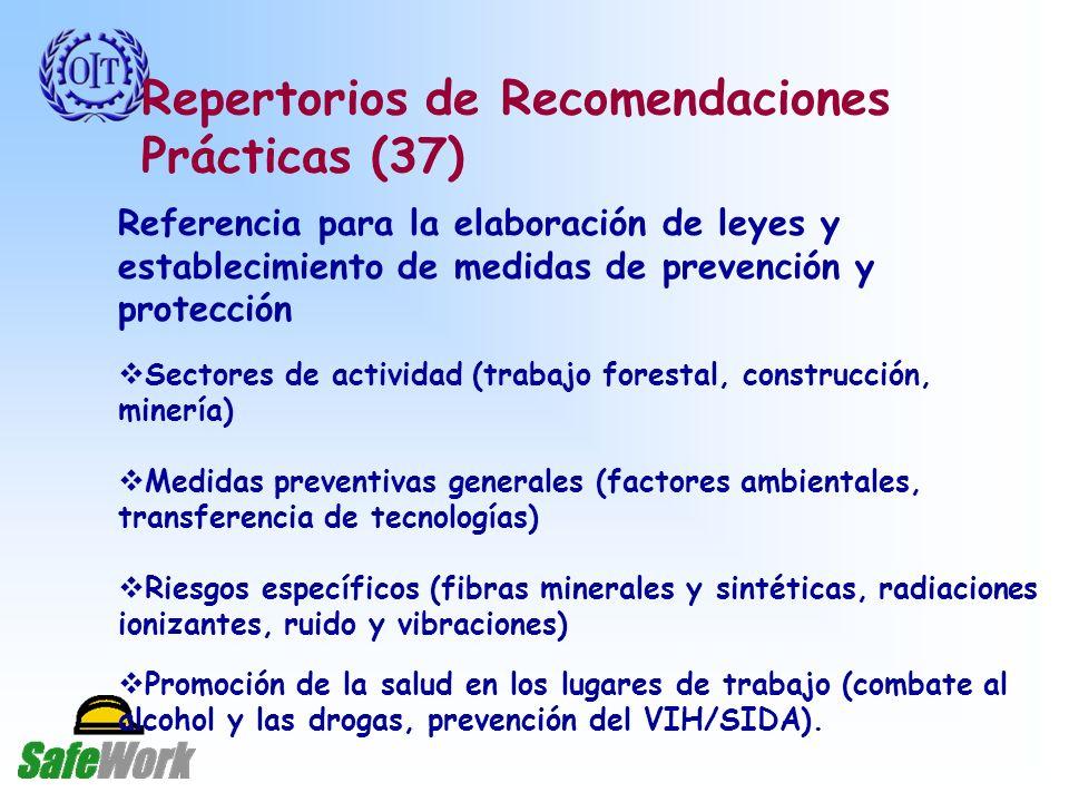 Repertorios de Recomendaciones Prácticas (37) Referencia para la elaboración de leyes y establecimiento de medidas de prevención y protección Sectores de actividad (trabajo forestal, construcción, minería) Medidas preventivas generales (factores ambientales, transferencia de tecnologías) Riesgos específicos (fibras minerales y sintéticas, radiaciones ionizantes, ruido y vibraciones) Promoción de la salud en los lugares de trabajo (combate al alcohol y las drogas, prevención del VIH/SIDA).