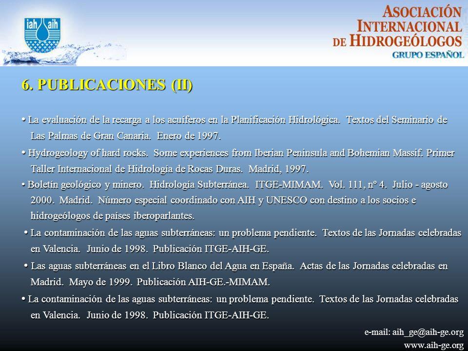 6.PUBLICACIONES (II) La evaluación de la recarga a los acuíferos en la Planificación Hidrológica.