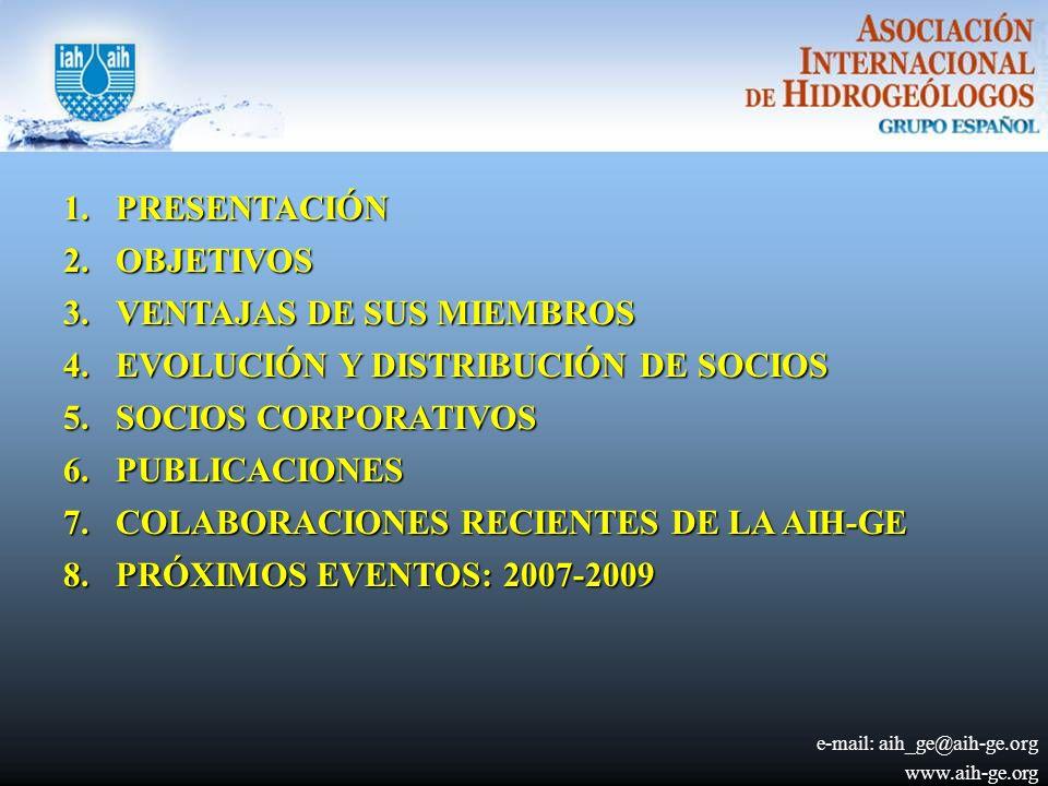 1.PRESENTACIÓN 2.OBJETIVOS 3.VENTAJAS DE SUS MIEMBROS 4.EVOLUCIÓN Y DISTRIBUCIÓN DE SOCIOS 5.SOCIOS CORPORATIVOS 6.PUBLICACIONES 7.COLABORACIONES RECIENTES DE LA AIH-GE 8.PRÓXIMOS EVENTOS: 2007-2009 e-mail: aih_ge@aih-ge.org www.aih-ge.org