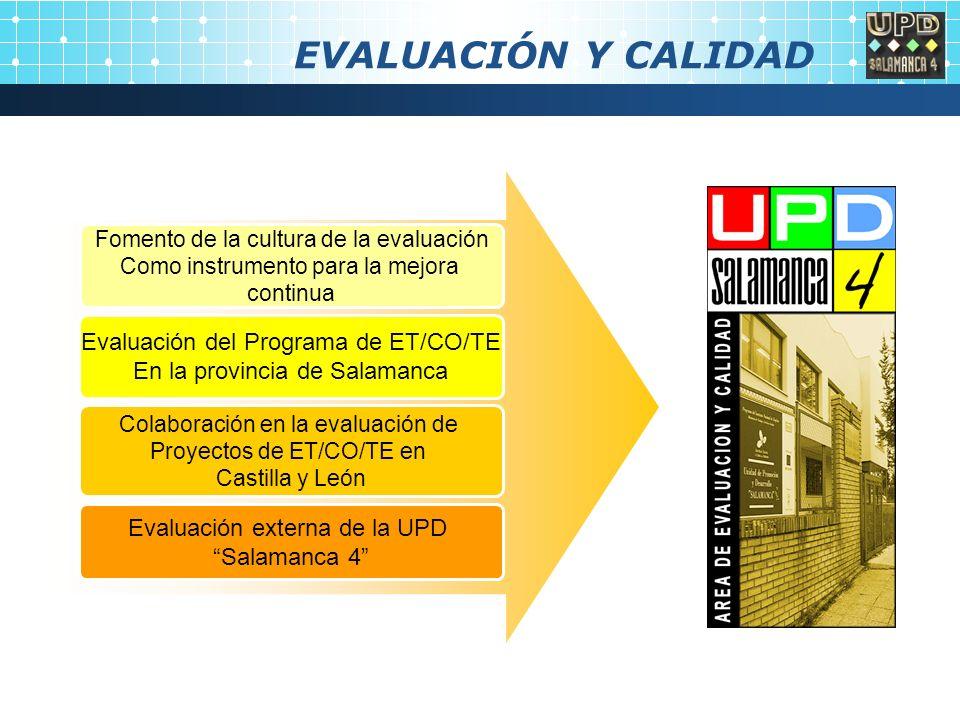 EVALUACIÓN Y CALIDAD Fomento de la cultura de la evaluación Como instrumento para la mejora continua Evaluación del Programa de ET/CO/TE En la provincia de Salamanca Colaboración en la evaluación de Proyectos de ET/CO/TE en Castilla y León Evaluación externa de la UPD Salamanca 4