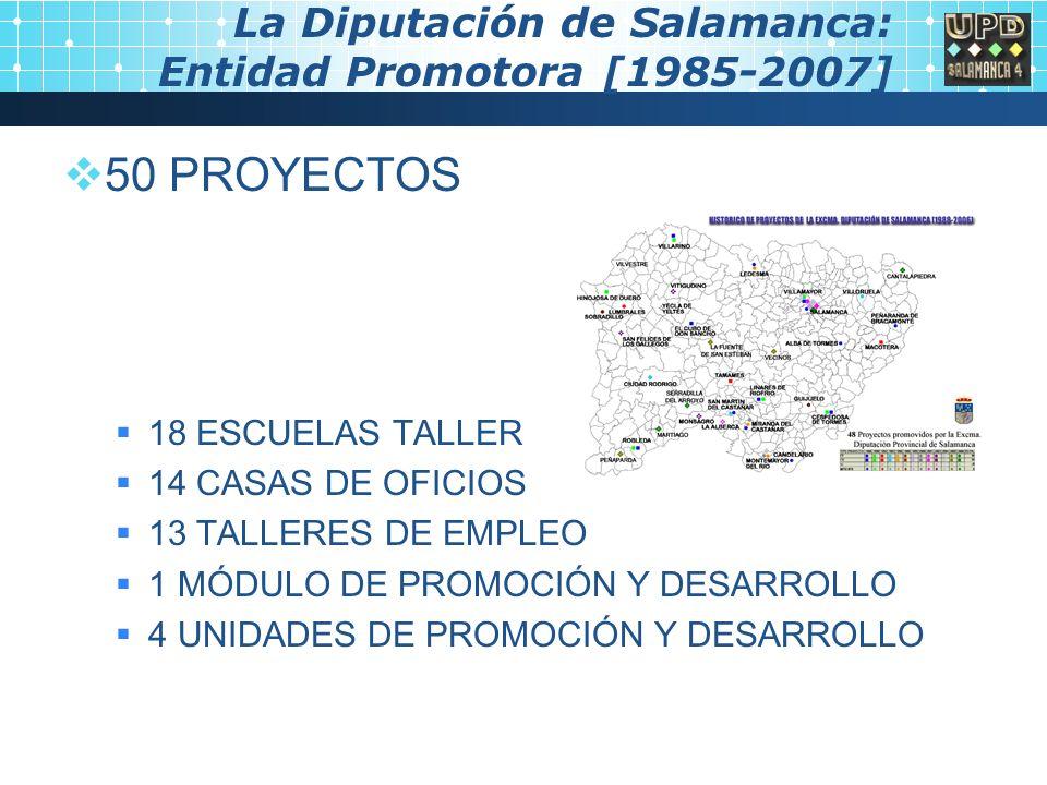 La Diputación de Salamanca: Entidad Promotora [1985-2007] 50 PROYECTOS 18 ESCUELAS TALLER 14 CASAS DE OFICIOS 13 TALLERES DE EMPLEO 1 MÓDULO DE PROMOCIÓN Y DESARROLLO 4 UNIDADES DE PROMOCIÓN Y DESARROLLO