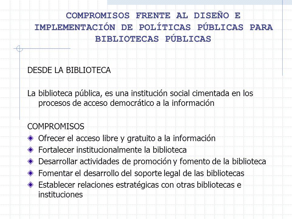 COMPROMISOS FRENTE AL DISEÑO E IMPLEMENTACIÓN DE POLÍTICAS PÚBLICAS PARA BIBLIOTECAS PÚBLICAS DESDE LA BIBLIOTECA La biblioteca pública, es una institución social cimentada en los procesos de acceso democrático a la información COMPROMISOS Ofrecer el acceso libre y gratuito a la información Fortalecer institucionalmente la biblioteca Desarrollar actividades de promoción y fomento de la biblioteca Fomentar el desarrollo del soporte legal de las bibliotecas Establecer relaciones estratégicas con otras bibliotecas e instituciones