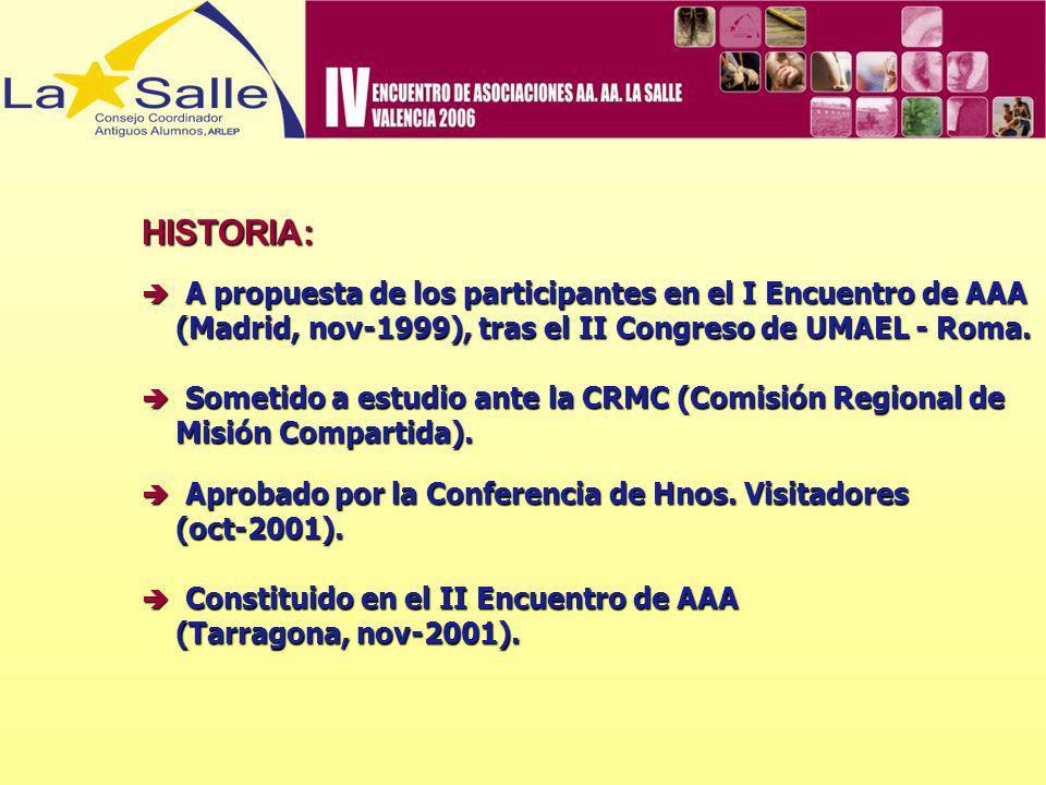 HISTORIA: A propuesta de los participantes en el I Encuentro de AAA A propuesta de los participantes en el I Encuentro de AAA (Madrid, nov-1999), tras