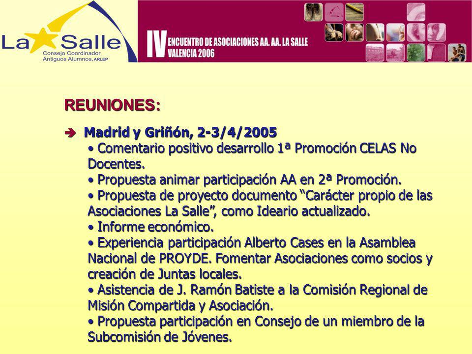REUNIONES: Madrid y Griñón, 2-3/4/2005 Madrid y Griñón, 2-3/4/2005 Comentario positivo desarrollo 1ª Promoción CELAS No Docentes. Comentario positivo