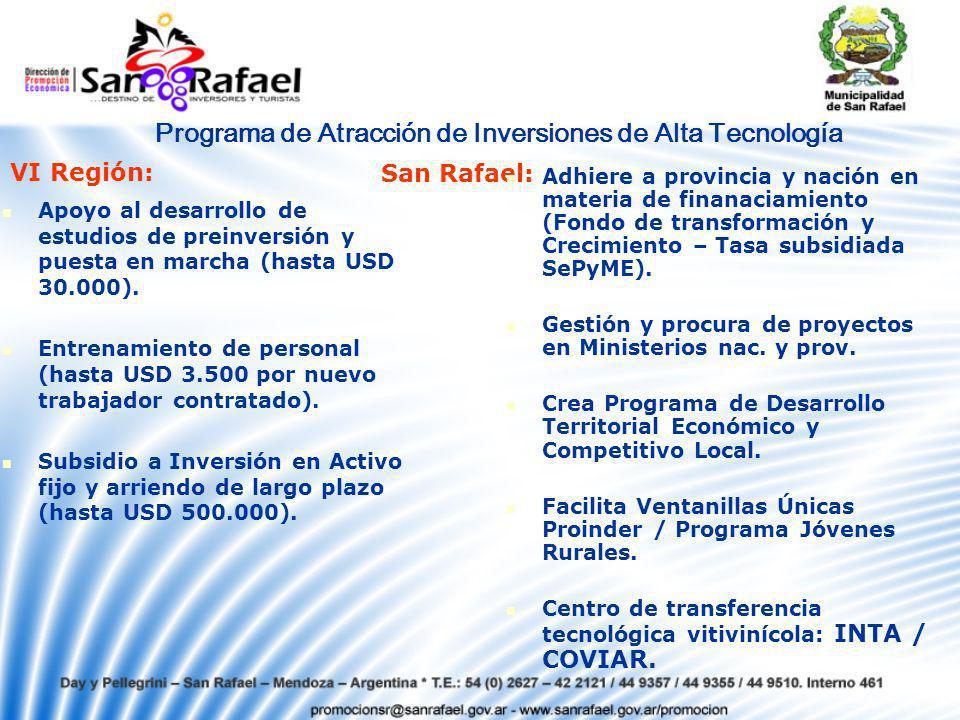 Programa de Atracción de Inversiones de Alta Tecnología Apoyo al desarrollo de estudios de preinversión y puesta en marcha (hasta USD 30.000).