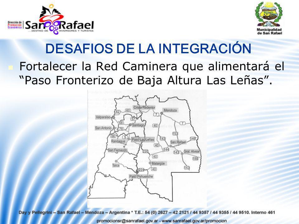 DESAFIOS DE LA INTEGRACIÓN Fortalecer la Red Caminera que alimentará el Paso Fronterizo de Baja Altura Las Leñas.