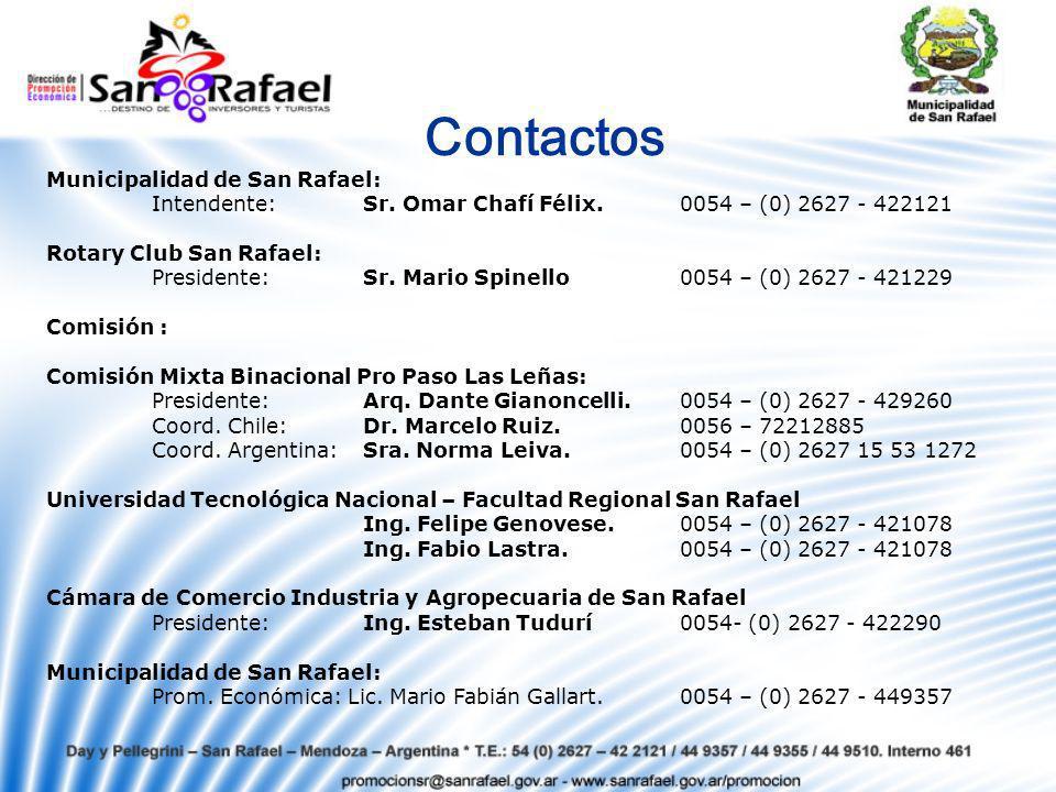Contactos Municipalidad de San Rafael: Intendente: Sr.