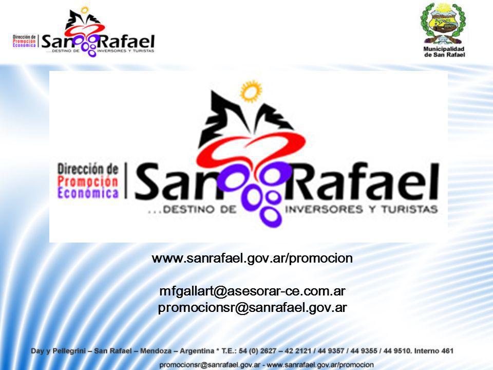 www.sanrafael.gov.ar/promocion mfgallart@asesorar-ce.com.ar promocionsr@sanrafael.gov.ar