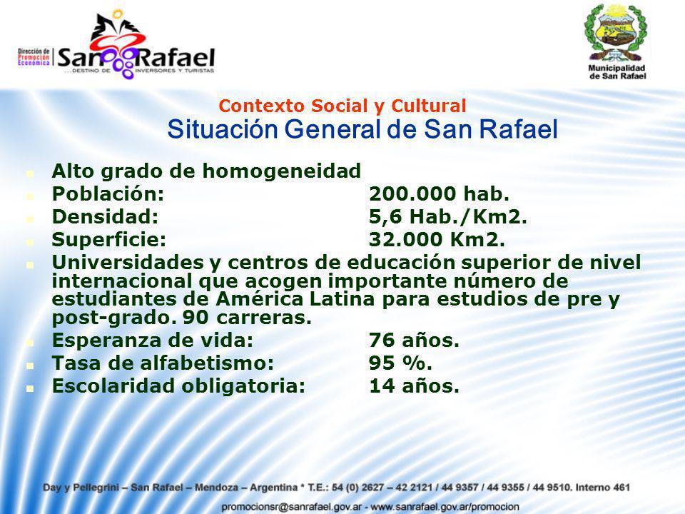 Alto grado de homogeneidad Población:200.000 hab.Densidad:5,6 Hab./Km2.