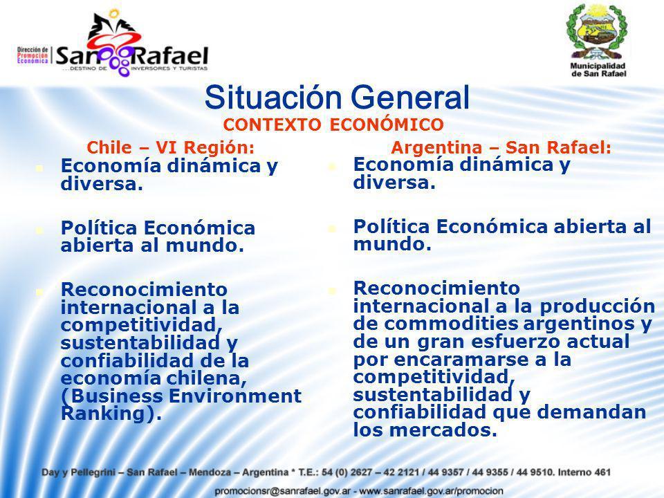 Situación General Economía dinámica y diversa.Política Económica abierta al mundo.