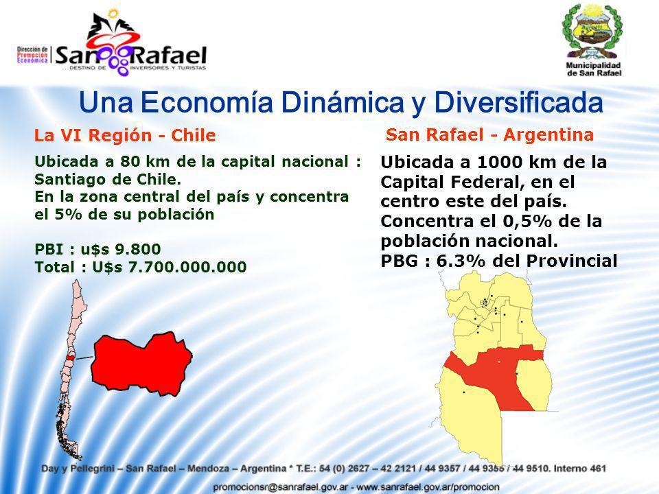 Una Economía Dinámica y Diversificada La VI Región - Chile San Rafael - Argentina Ubicada a 80 km de la capital nacional : Santiago de Chile.