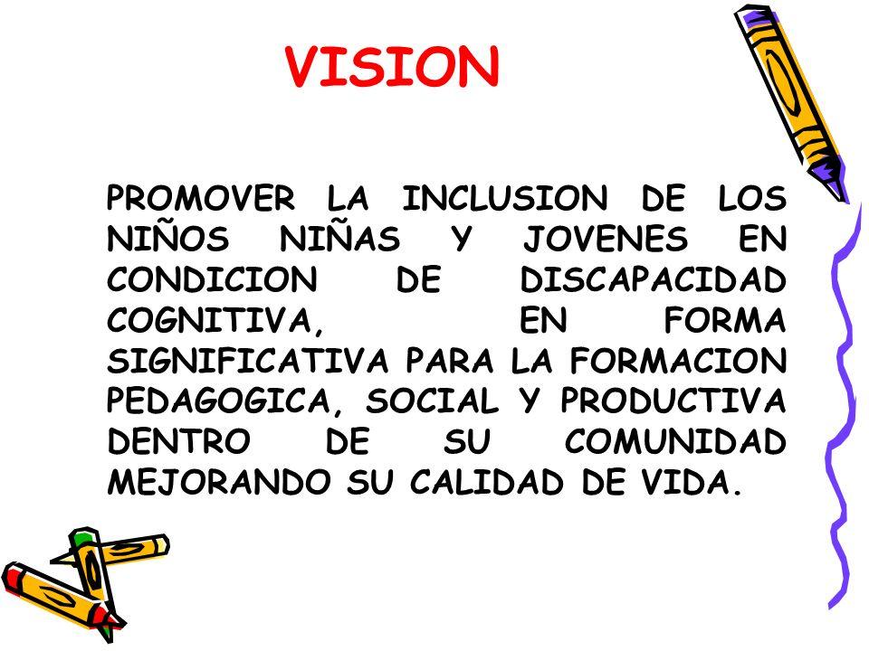 VISION PROMOVER LA INCLUSION DE LOS NIÑOS NIÑAS Y JOVENES EN CONDICION DE DISCAPACIDAD COGNITIVA, EN FORMA SIGNIFICATIVA PARA LA FORMACION PEDAGOGICA, SOCIAL Y PRODUCTIVA DENTRO DE SU COMUNIDAD MEJORANDO SU CALIDAD DE VIDA.