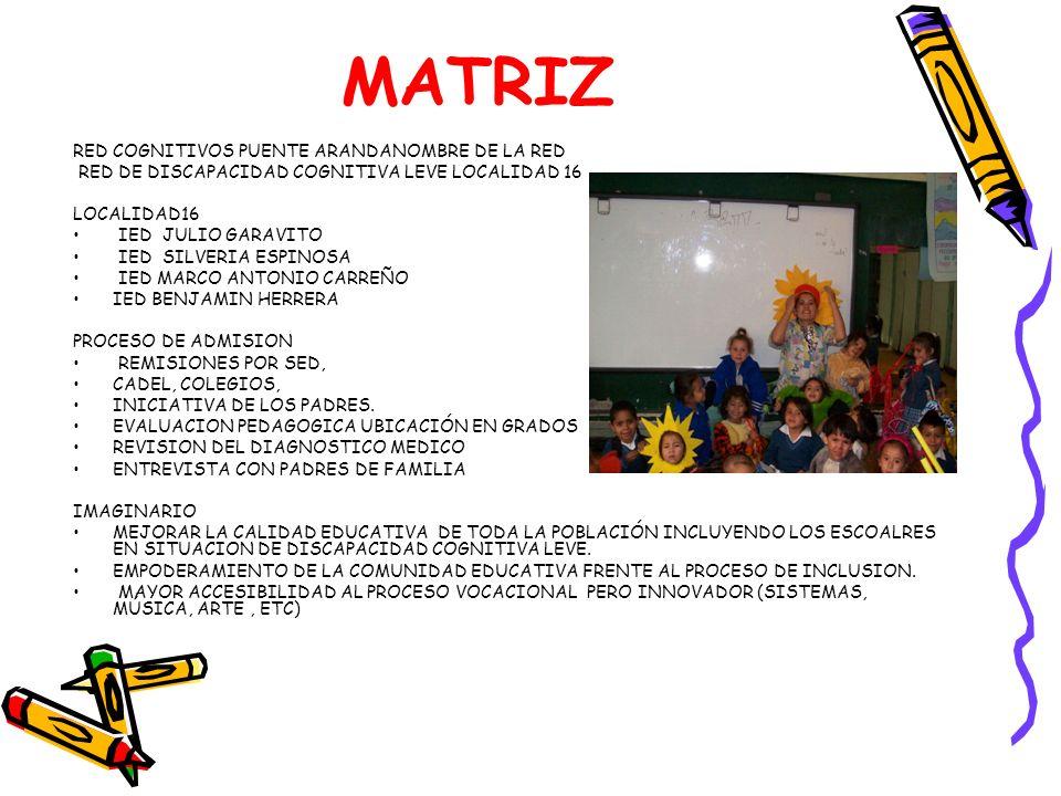 MATRIZ RED COGNITIVOS PUENTE ARANDANOMBRE DE LA RED RED DE DISCAPACIDAD COGNITIVA LEVE LOCALIDAD 16 LOCALIDAD16 IED JULIO GARAVITO IED SILVERIA ESPINO