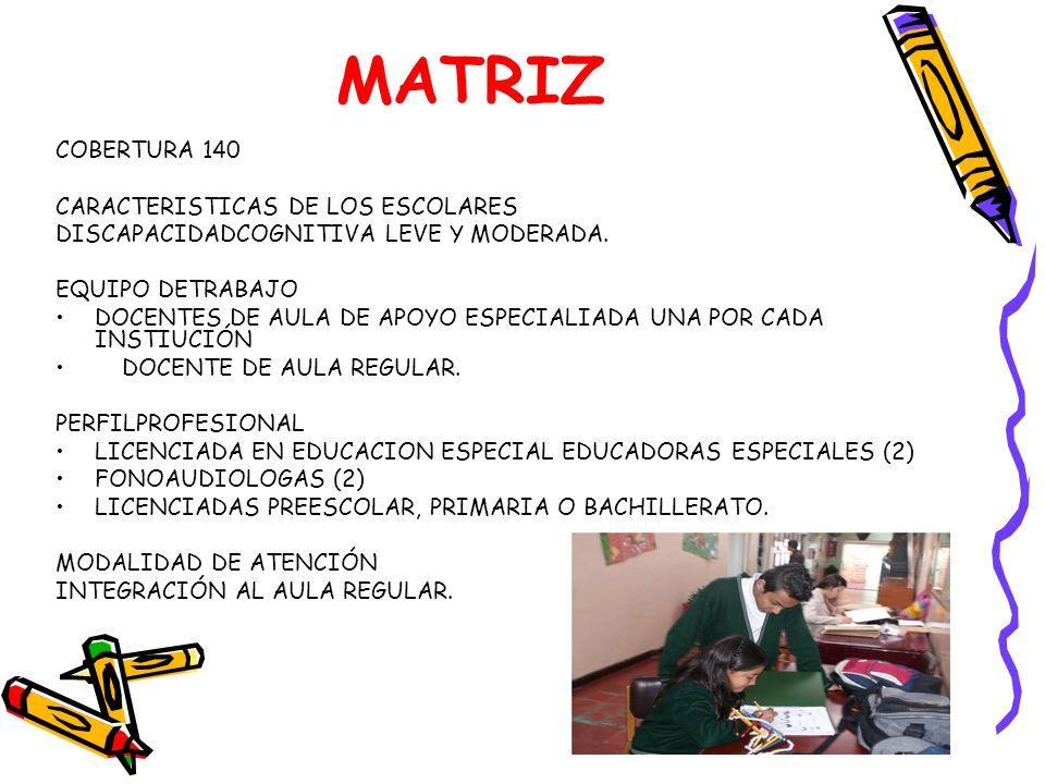 MATRIZ COBERTURA 140 CARACTERISTICAS DE LOS ESCOLARES DISCAPACIDADCOGNITIVA LEVE Y MODERADA. EQUIPO DETRABAJO DOCENTES DE AULA DE APOYO ESPECIALIADA U