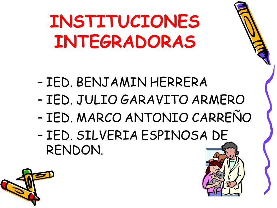 INSTITUCIONES INTEGRADORAS –IED. BENJAMIN HERRERA –IED. JULIO GARAVITO ARMERO –IED. MARCO ANTONIO CARREÑO –IED. SILVERIA ESPINOSA DE RENDON.