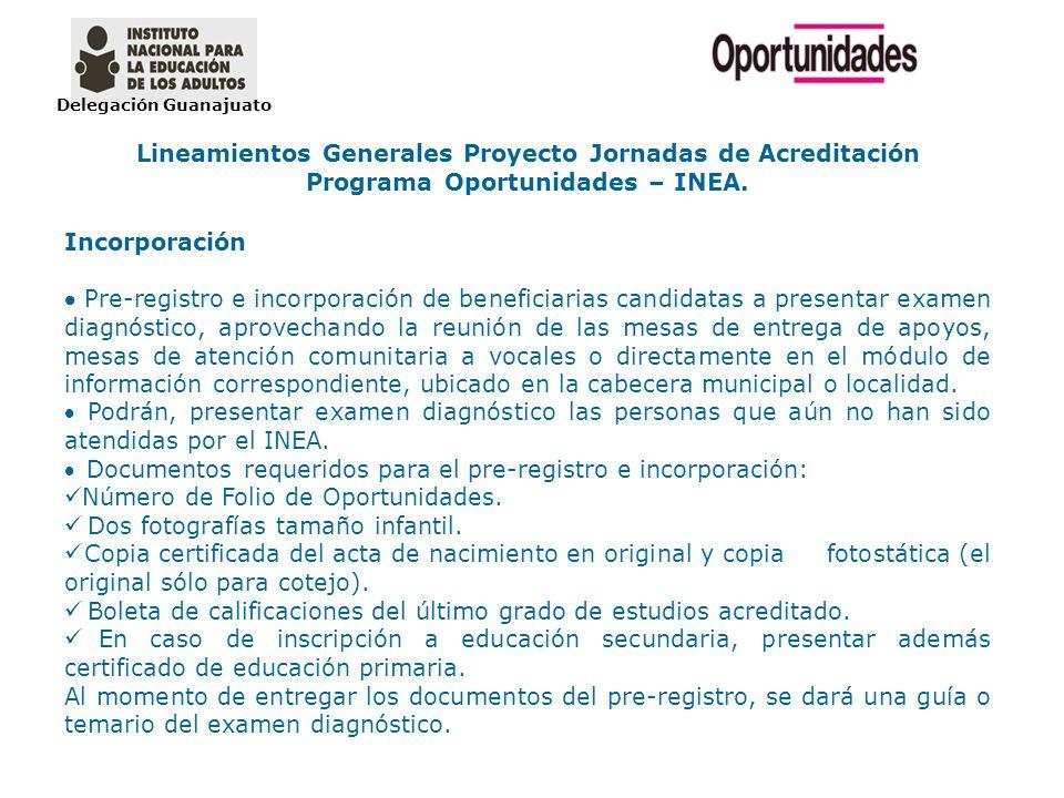 Delegación Guanajuato Lineamientos Generales Proyecto Jornadas de Acreditación Programa Oportunidades – INEA. Incorporación Pre-registro e incorporaci