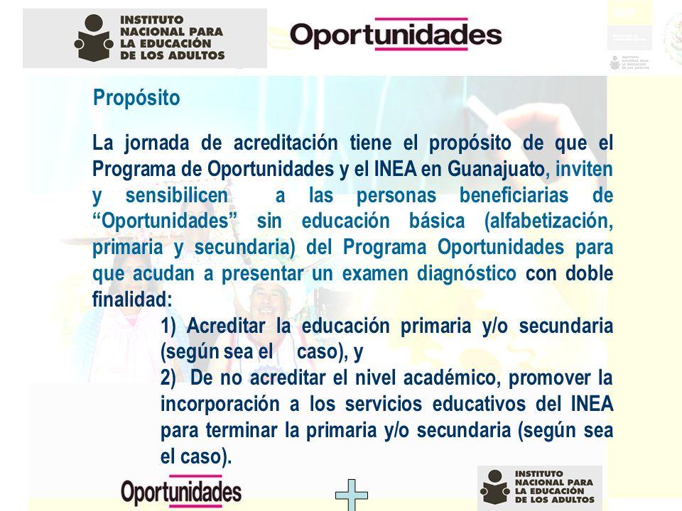 Propósito La jornada de acreditación tiene el propósito de que el Programa de Oportunidades y el INEA en Guanajuato, inviten y sensibilicen a las pers