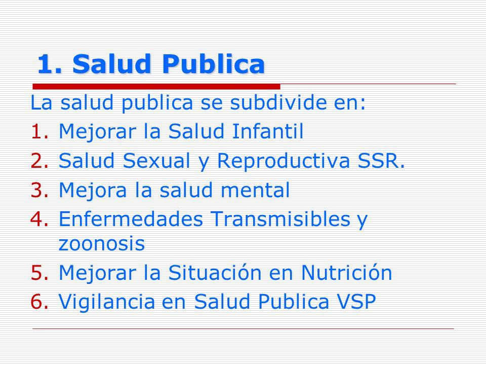 1. Salud Publica La salud publica se subdivide en: 1.Mejorar la Salud Infantil 2.Salud Sexual y Reproductiva SSR. 3.Mejora la salud mental 4.Enfermeda