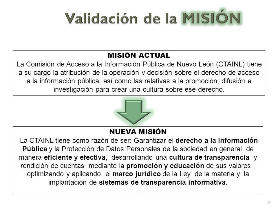VISIÓN ACTUAL Ser consistentemente una organización pública confiable, que apoyando al ciudadano mediante la aplicación de la Ley de Acceso a la Información, proporcione soluciones informativas y/o legales dentro de un ambiente de transparencia gubernamental.