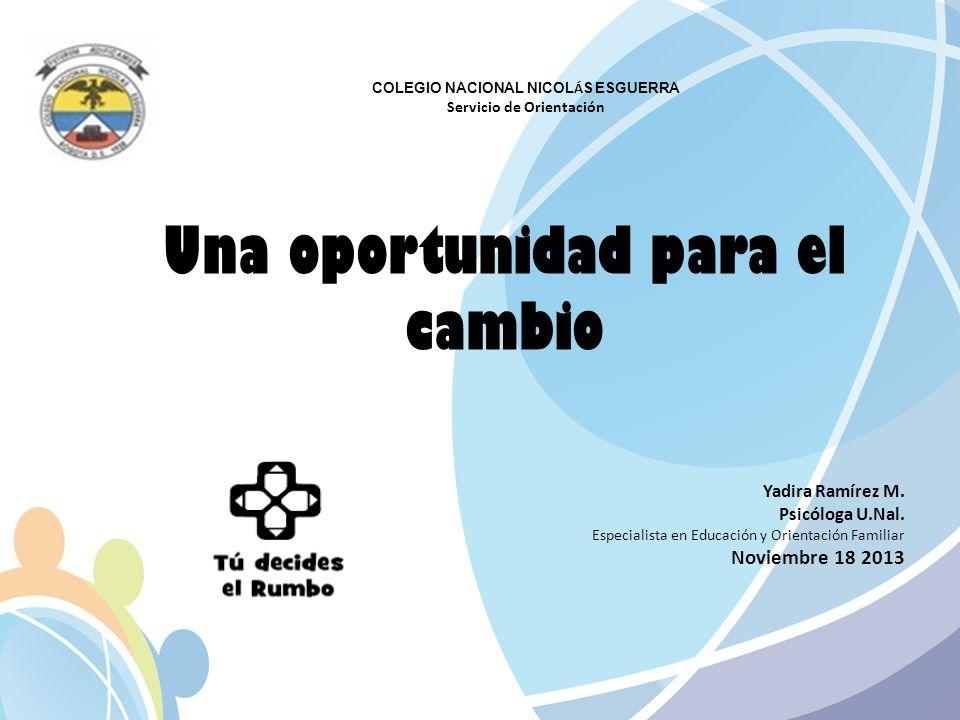 Una oportunidad para el cambio Yadira Ramírez M. Psicóloga U.Nal. Especialista en Educación y Orientación Familiar Noviembre 18 2013 COLEGIO NACIONAL