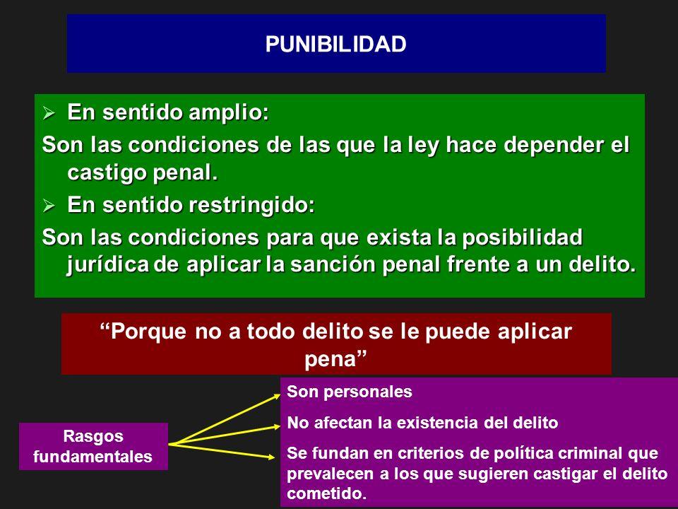 PUNIBILIDAD En sentido amplio: En sentido amplio: Son las condiciones de las que la ley hace depender el castigo penal. En sentido restringido: En sen