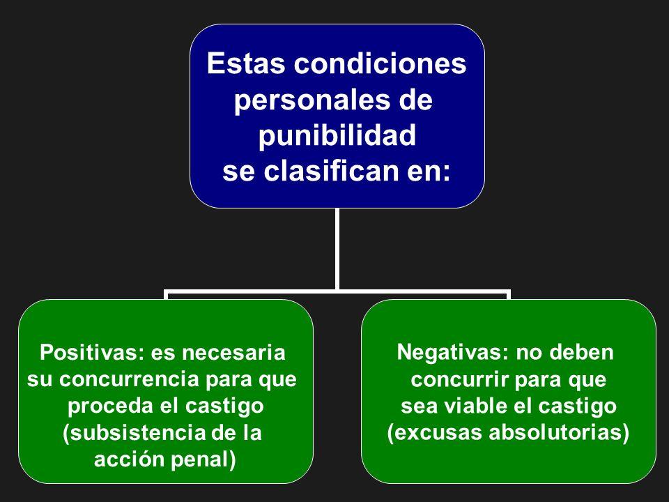 Estas condiciones personales de punibilidad se clasifican en: Positivas: es necesaria su concurrencia para que proceda el castigo (subsistencia de la