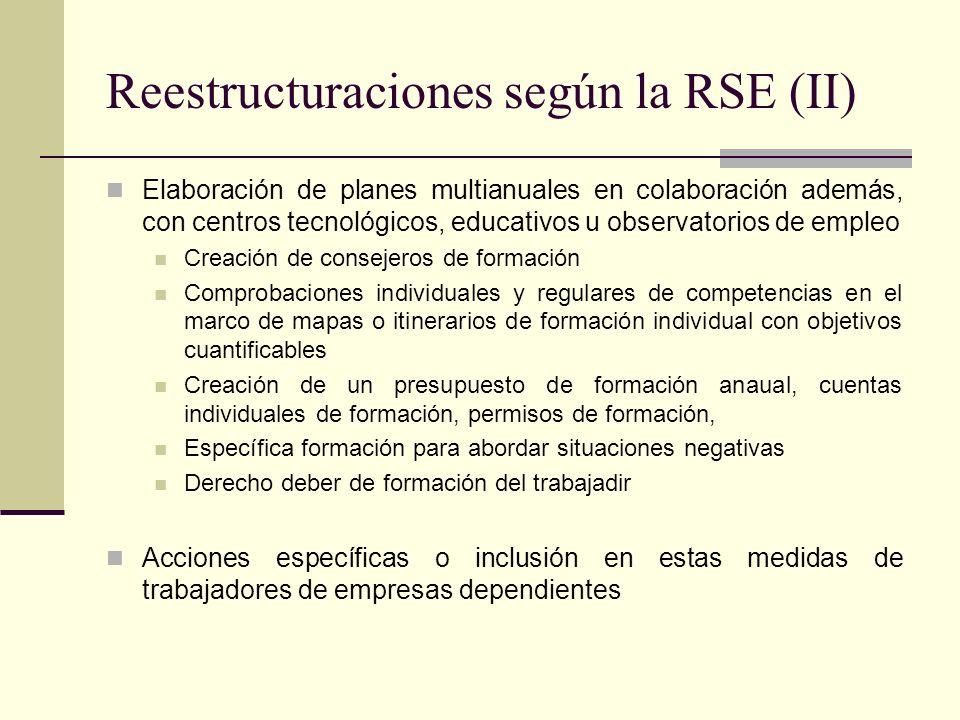 Reestructuraciones según la RSE (II) Elaboración de planes multianuales en colaboración además, con centros tecnológicos, educativos u observatorios d