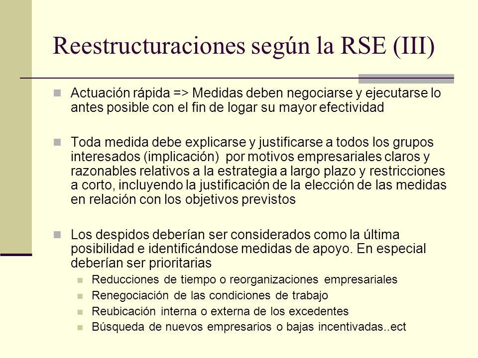 Reestructuraciones según la RSE (III) Actuación rápida => Medidas deben negociarse y ejecutarse lo antes posible con el fin de logar su mayor efectivi