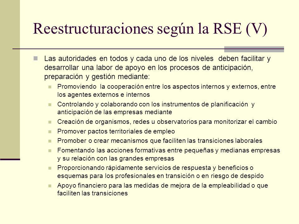 Reestructuraciones según la RSE (V) Las autoridades en todos y cada uno de los niveles deben facilitar y desarrollar una labor de apoyo en los proceso