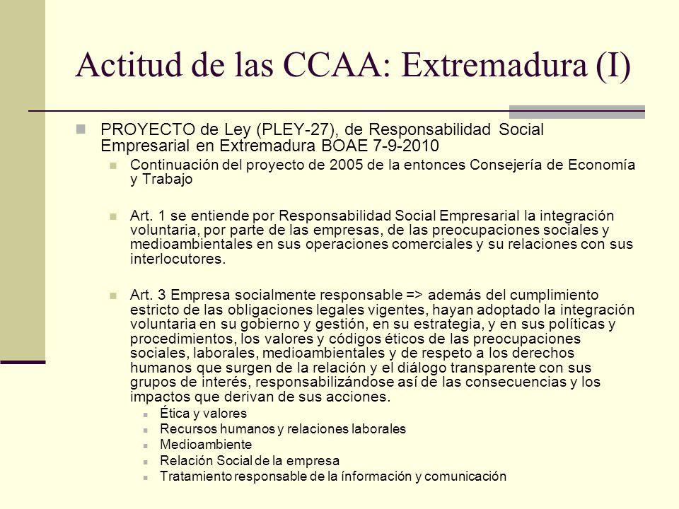 Actitud de las CCAA: Extremadura (I) PROYECTO de Ley (PLEY-27), de Responsabilidad Social Empresarial en Extremadura BOAE 7-9-2010 Continuación del pr