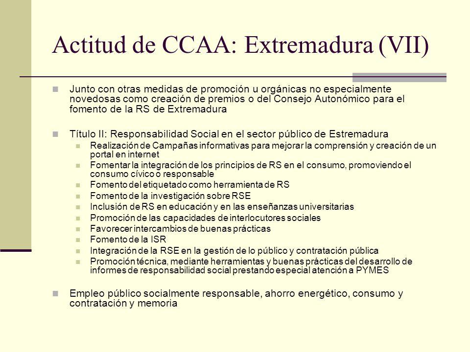 Actitud de CCAA: Extremadura (VII) Junto con otras medidas de promoción u orgánicas no especialmente novedosas como creación de premios o del Consejo