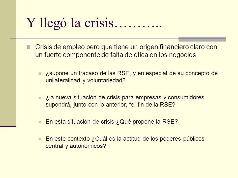Y llegó la crisis……….. Crisis de empleo pero que tiene un origen financiero claro con un fuerte componente de falta de ética en los negocios ¿supone u