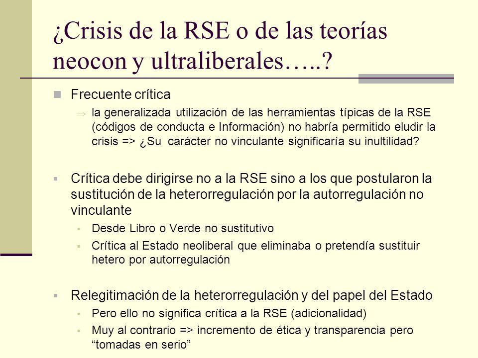 ¿Crisis de la RSE o de las teorías neocon y ultraliberales…..? Frecuente crítica la generalizada utilización de las herramientas típicas de la RSE (có