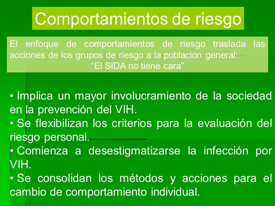 Comportamientos de riesgo El enfoque de comportamientos de riesgo traslada las acciones de los grupos de riesgo a la población general: El SIDA no tie