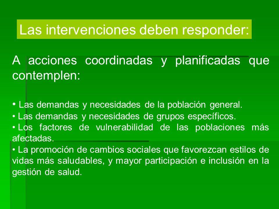 Las intervenciones deben responder: A acciones coordinadas y planificadas que contemplen: Las demandas y necesidades de la población general. Las dema