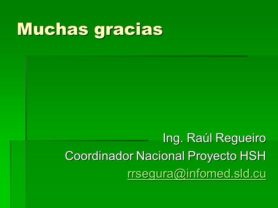 Muchas gracias Ing. Raúl Regueiro Coordinador Nacional Proyecto HSH rrsegura@infomed.sld.cu
