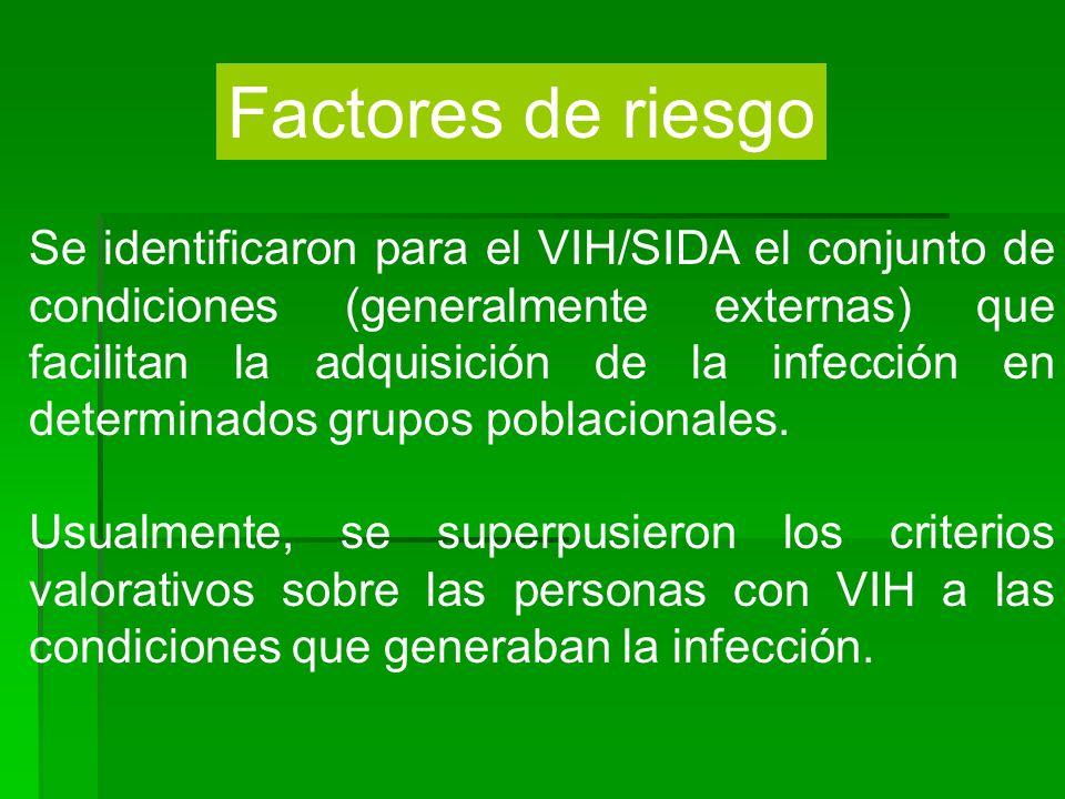 Factores de riesgo Se identificaron para el VIH/SIDA el conjunto de condiciones (generalmente externas) que facilitan la adquisición de la infección e