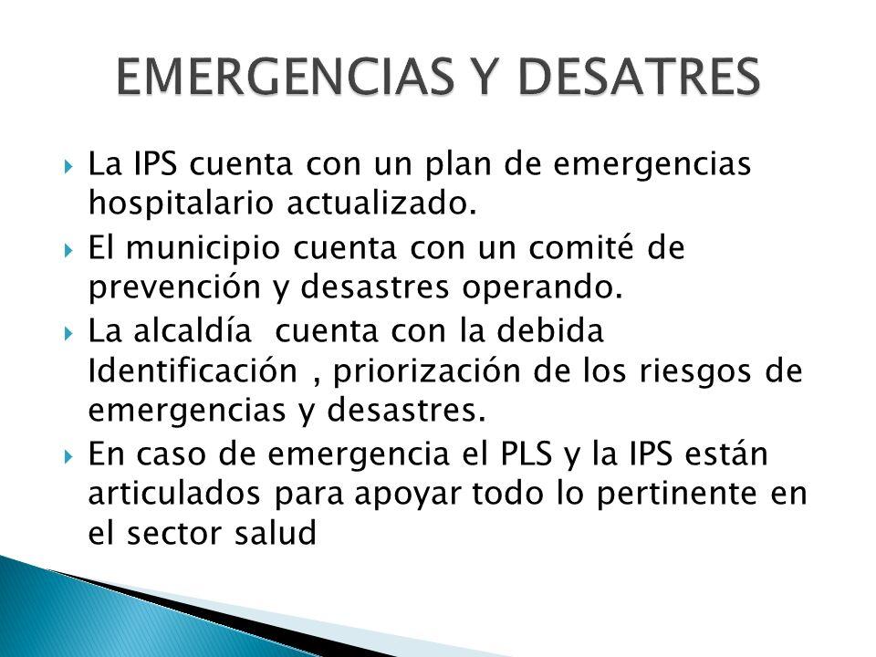 La IPS cuenta con un plan de emergencias hospitalario actualizado.