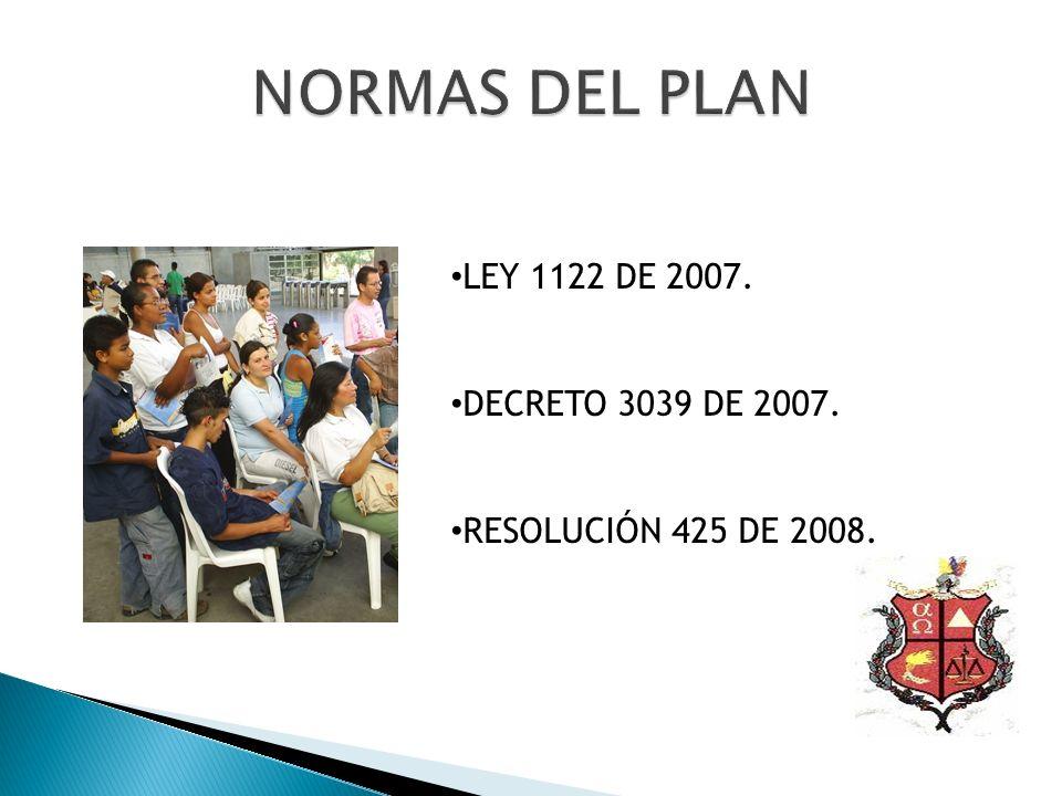 LEY 1122 DE 2007. DECRETO 3039 DE 2007. RESOLUCIÓN 425 DE 2008.