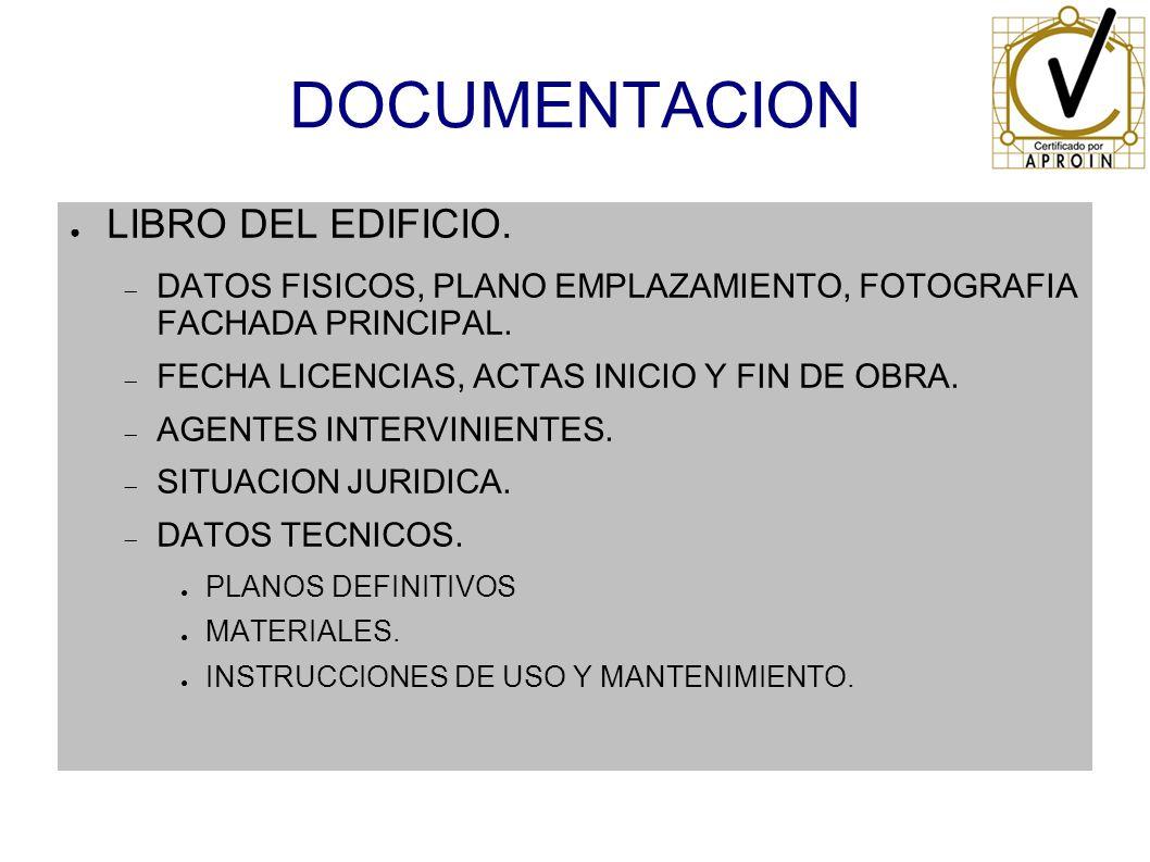 DOCUMENTACION LIBRO DEL EDIFICIO. DATOS FISICOS, PLANO EMPLAZAMIENTO, FOTOGRAFIA FACHADA PRINCIPAL. FECHA LICENCIAS, ACTAS INICIO Y FIN DE OBRA. AGENT