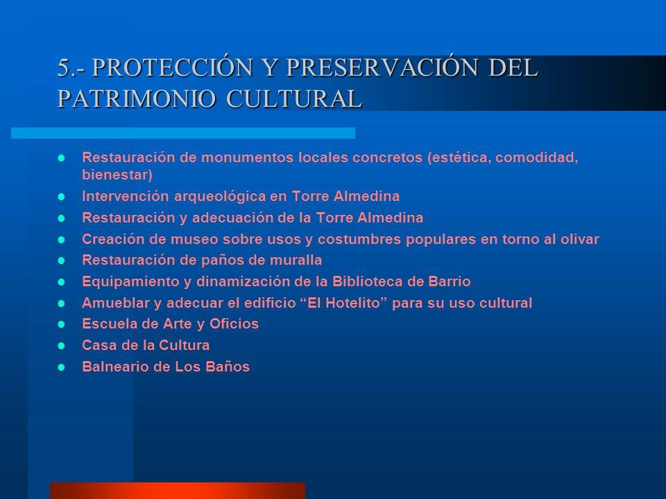 5.- PROTECCIÓN Y PRESERVACIÓN DEL PATRIMONIO CULTURAL Restauración de monumentos locales concretos (estética, comodidad, bienestar) Intervención arque