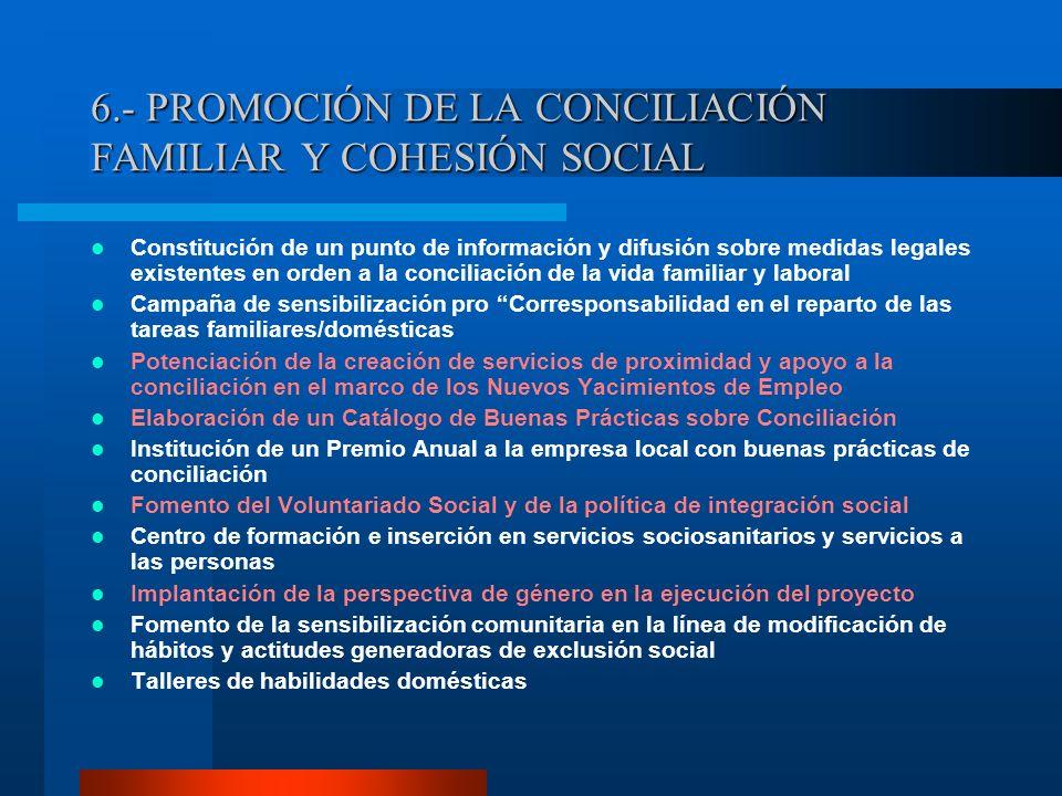 6.- PROMOCIÓN DE LA CONCILIACIÓN FAMILIAR Y COHESIÓN SOCIAL Constitución de un punto de información y difusión sobre medidas legales existentes en ord